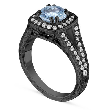 1.46 Carat Blue Aquamarine Engagement Ring, Wedding Ring 14K Black Gold Vintage Antique Style Hand Engraved Unique Halo Pave handmade