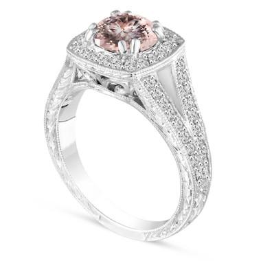1.46 Carat Morganite Engagement Ring, Wedding Ring Vintage Antique Style Hand Engraved 14K White Gold Unique handmade