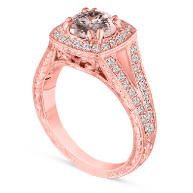 14K Rose Gold Morganite Engagement Ring, With Diamonds Wedding Ring Vintage Antique Style Hand Engraved 1.46 Carat Unique handmade