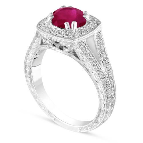1.58 Carat Ruby Engagement Ring, With Diamonds Wedding Ring Vintage Antique Style Hand Engraved 14K White Gold Unique handmade