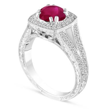 Vintage Ruby Engagement Ring, Platinum Wedding Ring Hand Engraved 1.58 Carat Unique handmade