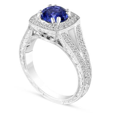 Vintage Blue Sapphire Engagement Ring, Platinum Wedding Ring Hand Engraved 1.58 Carat Unique Handmade