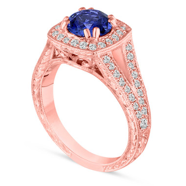 Unique Sapphire Engagement Ring, With Diamonds Wedding Ring 14K Rose Gold 1.58 Carat Vintage Antique Style Hand Engraved Unique Handmade