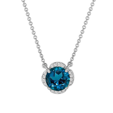 London Blue Topaz And Diamonds Solitaire Pendant Necklace Flower 14k White Gold 1.92 Carat Certified Handmade