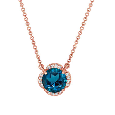 London Blue Topaz And Diamonds Solitaire Pendant Necklace Flower 14k Rose Gold 1.92 Carat Certified Handmade