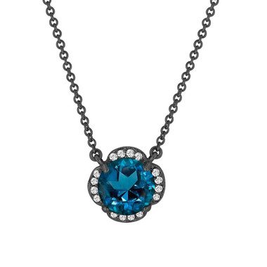 London Blue Topaz And Diamonds Solitaire Pendant Necklace Flower 14k Black Gold Vintage Style 1.92 Carat Certified Handmade