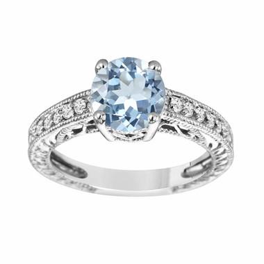 1.50 Carat Aquamarine Engagement Ring, Diamond Wedding Ring 14K White Gold Vintage Style Handmade