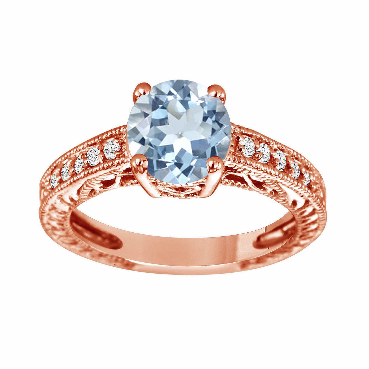 b90b9bbcb Blue Aquamarine Engagement Ring, With Diamonds Wedding Ring ...