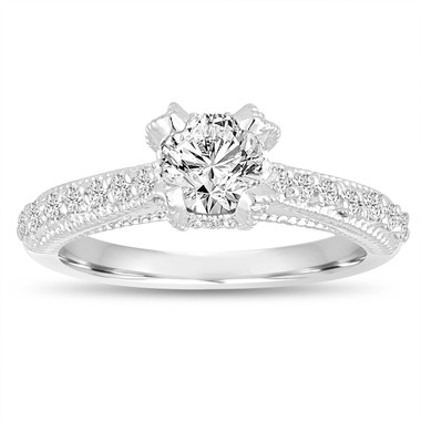 0.82 Carat GIA Diamond Engagement Ring, Wedding Ring 14K White Gold Vintage Style Unique Handmade Certified