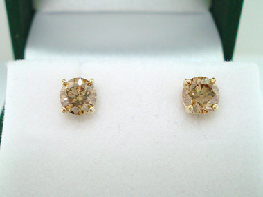 1.02 Carat Fancy Champagne Brown Diamond Stud Earrings 14K Yellow Gold Handmade