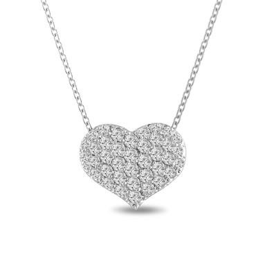 1.00 Carat Platinum Diamond Heart Love Pendant Necklace Pave Set Handmade