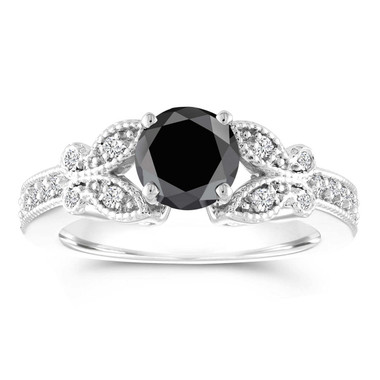 Butterfly Black Diamond Engagement Ring, Wedding Ring, Statement Ring 1.34 Carat 14k White Gold Unique Handmade Certified