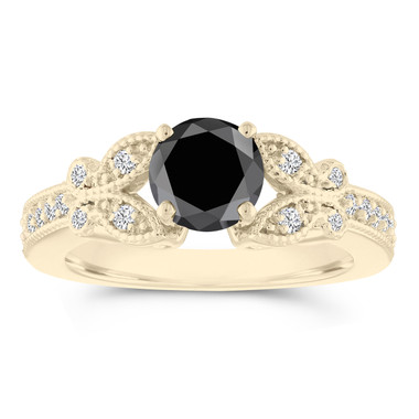Butterfly Fancy Black and White Diamond Engagement Ring, Wedding Ring 1.34 Carat 14k Yellow Gold Unique Handmade Certified