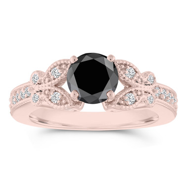 Butterfly Black Diamond Engagement Ring, Wedding Ring, Statement Ring 1.34 Carat 14k Rose Gold Unique Handmade Certified