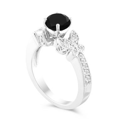 Platinum Butterfly Black Diamond Engagement Ring, Wedding Ring, 1.25 Carat Unique Handmade Certified