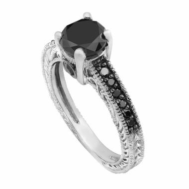 Natural Black Diamond Engagement Ring 18K White Gold 0.86 Carat Antique Vintage Style Engraved Pave HandMade Certified