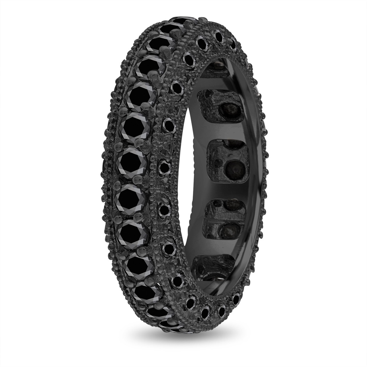 Vintage Style Black Diamonds Mens Wedding Band Eternity Ring