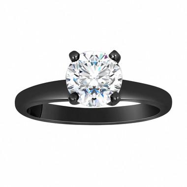 Forever One Moissanite Solitaire Engagement Ring, Wedding Ring 0.83 Carat Vintage Style 14K Black Gold Handmade