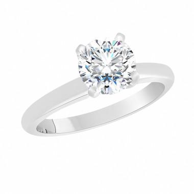 0.83 Carat Forever Brilliant Moissanite Solitaire Engagement Ring, Wedding Ring 14K White Gold Handmade