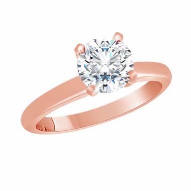 6.5 mm Moissanite Solitaire Engagement Ring, Wedding Ring 0.83 Carat 14K Rose Gold Handmade