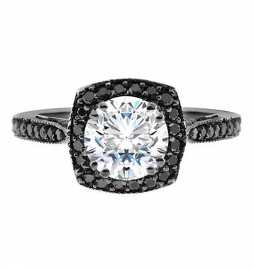 Forever Brilliant Moissanite Engagement Ring With Black Diamonds Wedding Ring 1.25 Carat Vintage Style 14K Black Gold Halo Pave Handmade