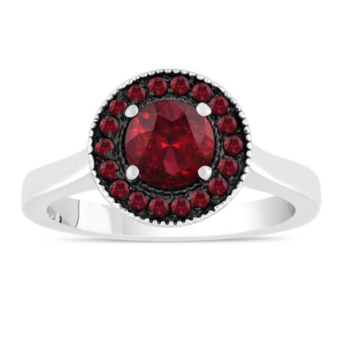 1.20 Carat Garnet Engagement Ring, Wedding Ring 14K White Gold Certified Pave Halo Handmade