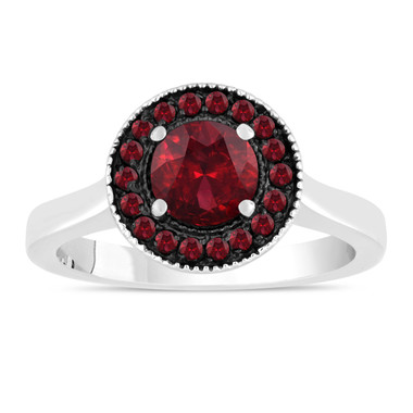 1.20 Carat Garnet Engagement Ring, Wedding Ring 14K White Gold Certified Pave Halo Handmade