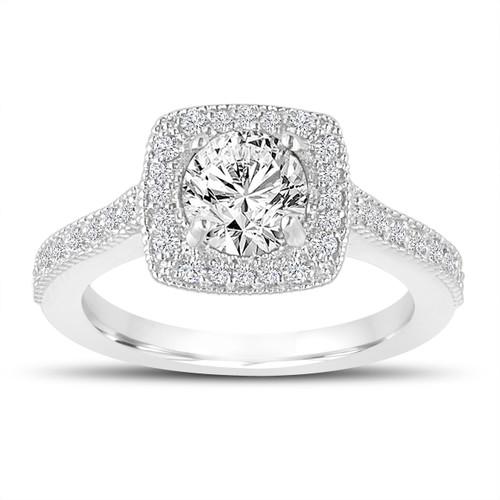 1.29 Carat Diamond Engagement Ring, Wedding Ring 14K White Gold Halo Pave Certified Handmade