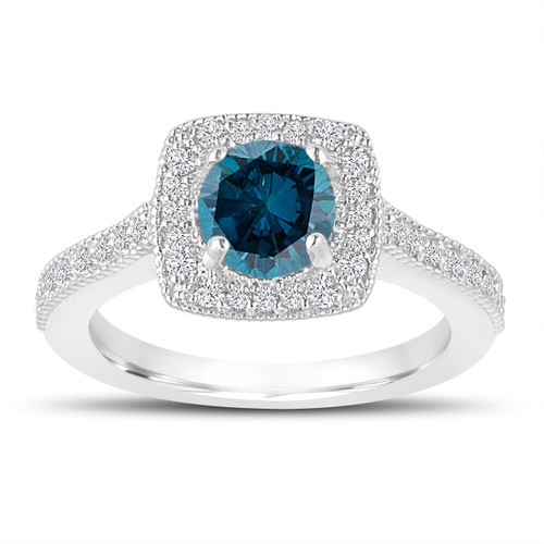 1.29 Carat Blue Diamond Engagement Ring, Wedding Ring 14K White Gold Halo Pave Certified Handmade