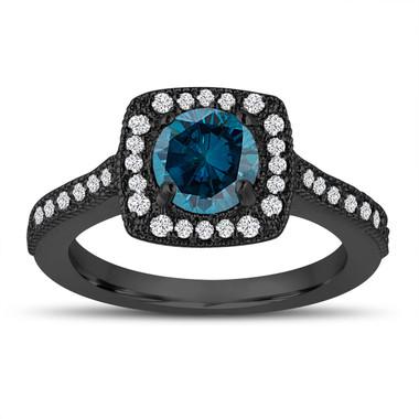 Vintage Style Blue Diamond Engagement Ring, Wedding Ring 1.29 Carat 14k Black Gold Halo Pave Certified Handmade