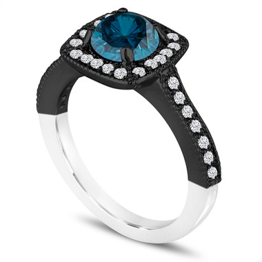 Unique Blue Diamond Engagement Ring, Wedding Ring 1.29 Carat 14K White & Black Gold Vintage Style Halo Pave Certified Handmade