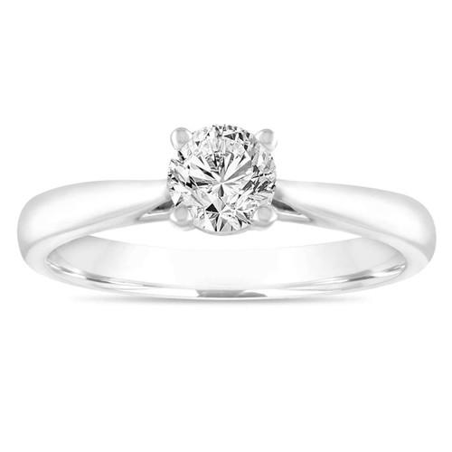 0.50 Carat Diamond Solitaire Engagement Ring, Wedding Ring GIA Certified 14K White Gold Certified Handmade