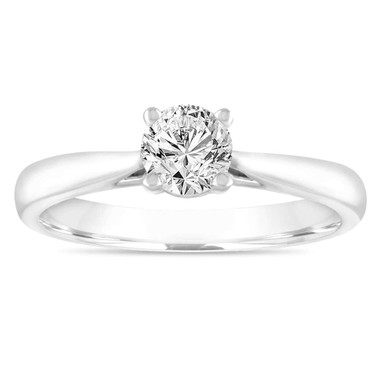 0.50 Carat Diamond Solitaire Engagement Ring, Wedding Ring GIA Certified 14K White Gold Certified Handmade