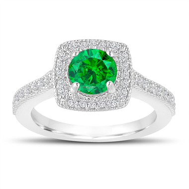 1.29 Carat Green Diamond Engagement Ring, Wedding Ring 14K White Gold Halo Pave Certified Handmade