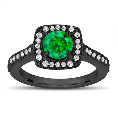 Vintage Style Fancy Green Diamond Engagement Ring, 1.29 Carat Wedding Ring 14K Black Gold Halo Pave Certified Handmade