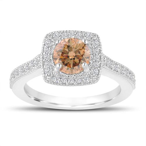 1.29 Carat Champagne Diamond Engagement Ring, Wedding Ring 14K White Gold Halo Pave Certified Handmade