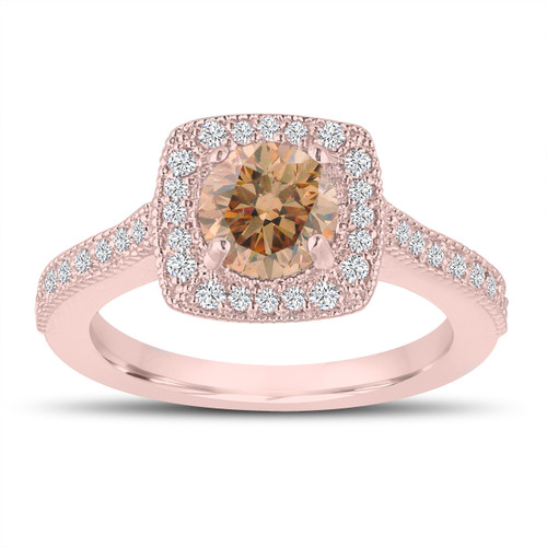 1.29 Carat Champagne Brown Diamond Engagement Ring, Wedding Ring 14K Rose Gold Halo Pave Certified Handmade