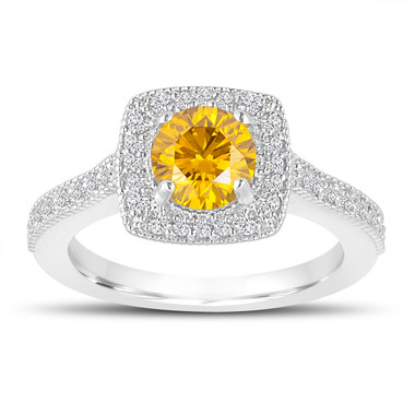 1.29 Carat Fancy Yellow Diamond Engagement Ring, Wedding Ring 14K White Gold Halo Pave Certified Handmade