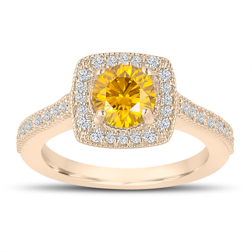 1.29 Carat Canary Yellow Diamond Engagement Ring, Wedding Ring 14K Yellow Gold Halo Pave Certified Handmade