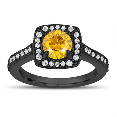Vintage Style Fancy Yellow Diamond Engagement Ring, Wedding Ring 1.29 Carat 14K Black Gold Halo Pave Certified Handmade