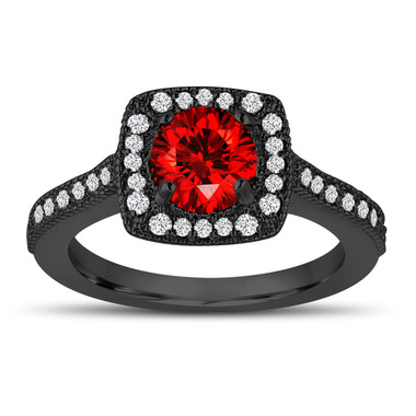 1.28 Carat Red Diamond Engagement Ring, Vintage Style Wedding Ring 14K Black Gold Halo Pave Certified Handmade