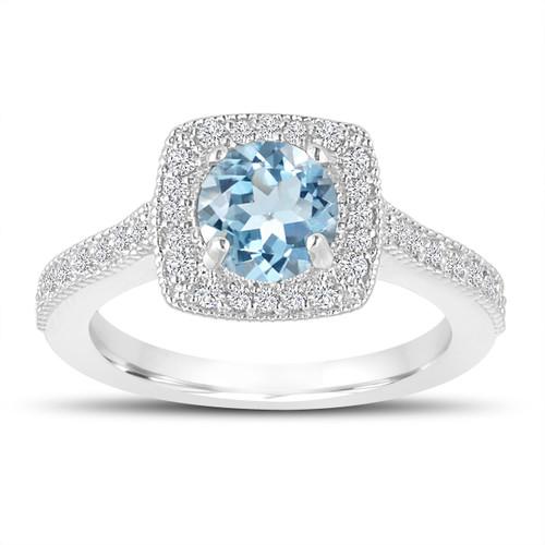 1.14 Carat Blue Aquamarine Engagement Ring, Wedding Ring 14K White Gold Halo Pave Certified Handmade