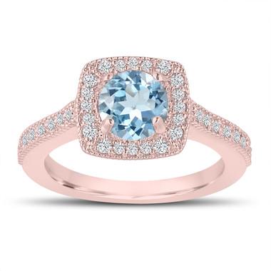 1.14 Carat Aquamarine Engagement Ring, Wedding Ring 14K Rose Gold Halo Pave Certified Handmade