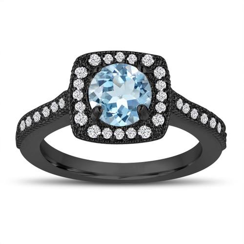 Vintage Style Aquamarine Engagement Ring, Wedding Ring 1.14 Carat 14K Black Gold Halo Pave Certified Handmade