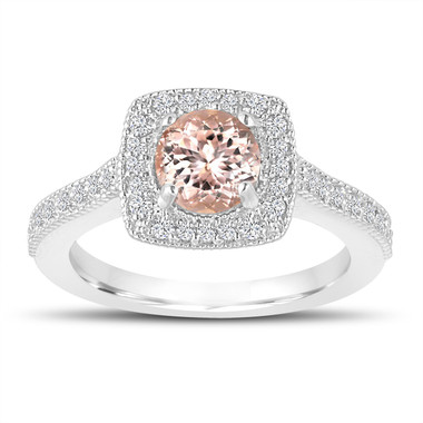 1.18 Carat Morganite Engagement Ring, Wedding Ring 14K White Gold Halo Pave Certified Handmade