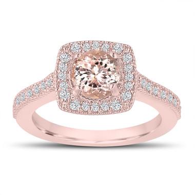 1.18 Carat Pink Peach Morganite Engagement Ring, Wedding Ring 14K Pink Gold Halo Pave Certified Handmade