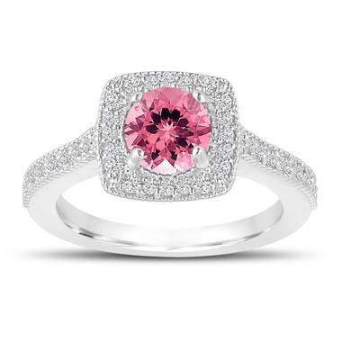 1.28 Carat Pink Tourmaline Engagement Ring, Wedding Ring 14K White Gold Halo Pave Certified Handmade