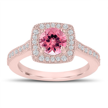 1.28 Carat Pink Tourmaline Engagement Ring, Wedding Ring 14K Rose Gold Halo Pave Certified Handmade