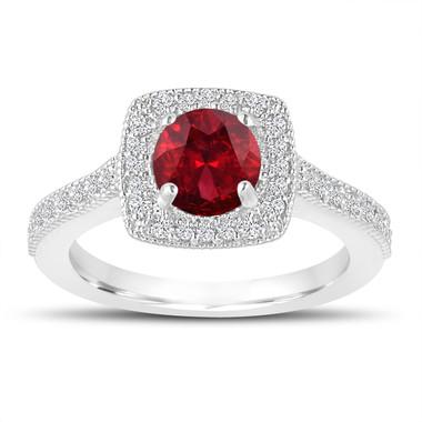1.48 Carat Garnet Engagement Ring, Garnet Wedding Ring, 14K White Gold Halo Pave Certified Handmade