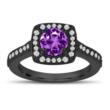 Vintage Style Purple Amethyst Engagement Ring, 1.28 Carat Wedding Ring 14K Black Gold Halo Pave Certified Handmade